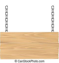 Señales de madera en cadenas de ilustración