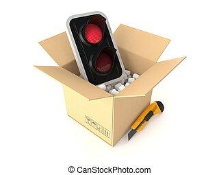 semáforo, dentro, paquete, rojo