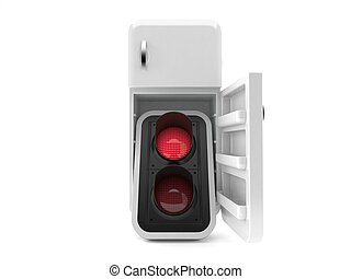 semáforo, dentro, rojo, refrigerador