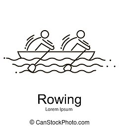 set., canoa, icono, equipo, competición, race., deportivo, remo