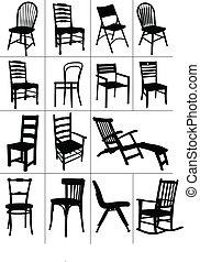 silla, silhouettes., conjunto, grande, hogar