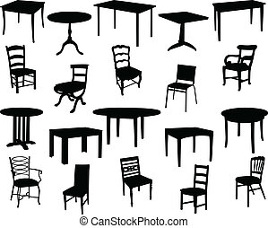 sillas, mesas