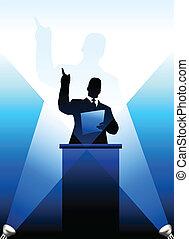 Silueta de altavoces comerciales y políticos detrás de un podio