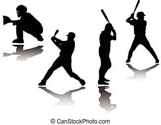 Silueta de jugador de béisbol: vector