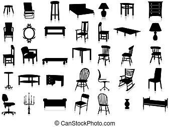 Silueta de muebles vector ilustrador