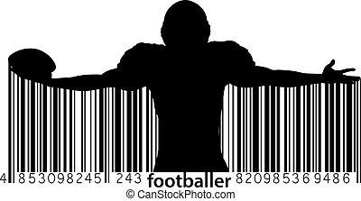 Silueta de un jugador de fútbol. Rugby. Fútbol americano