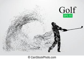 Silueta de un jugador de golf. Antecedentes y textos en una capa separada, el color puede ser cambiado en un clic. Ilustración de vectores