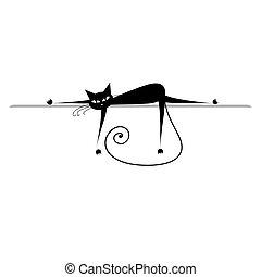 silueta, relax., gato, negro, diseño, su