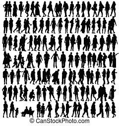 silueta, vector, negro, gente