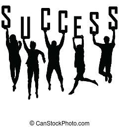 siluetas, concepto, joven, éxito, equipo