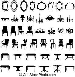 Siluetas de muebles puestas