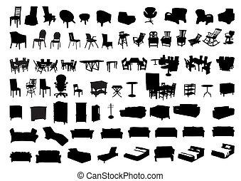 siluetas, muebles, icono