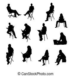 siluetas, sentado, empresarios