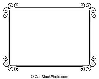 simple, ornamental, decorativo, marco