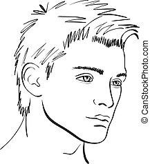 sketch., cara, vector, elemento del diseño, hombre