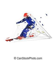 Skier, baja ilustración geométrica geométrica aislada vectorial. Esquí cuesta abajo