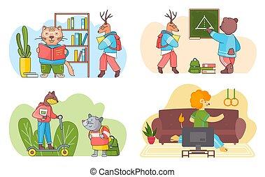 students., divertido, animales, colección, escenas, classroom., caricatura, conjunto, espalda, escuela