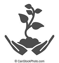 style., graphics., glyph, jardinería, concepto, plano de fondo, planta de semillero, brote, primero, icono, blanco, asimiento, vector, tierra, manos humanas, hojas, signo planta, palmas, icono, pequeño, sólido, cuidado