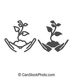 style., graphics., jardinería, concepto, plano de fondo, planta de semillero, brote, primero, icono, línea blanca, asimiento, vector, tierra, contorno, manos humanas, hojas, signo planta, palmas, icono, pequeño, sólido, cuidado