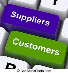 Suministradores y clientes llaves muestran cadena de suministro o distribución