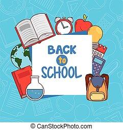 suministros, espalda, escuela, bandera, educación