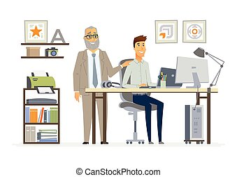 Supervisor de Personal - vector moderno dibujos animados de personajes de dibujos animados