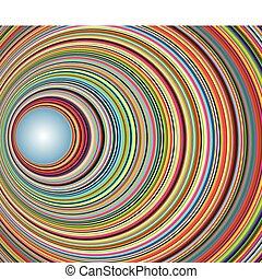 túnel, círculos, resumen, colorido