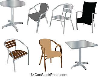 Tables y sillas, vector