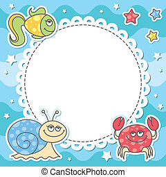 tarjeta, criaturas mar