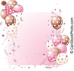Tarjeta de cumpleaños rosada