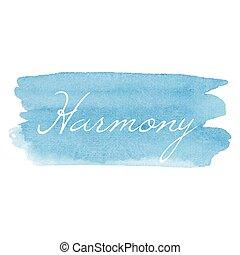 tarjeta, vector, texto escrito, acuarela, icono, mano, dibujado, caligrafía, armonía, plano de fondo, ilustración, tipografía, azul