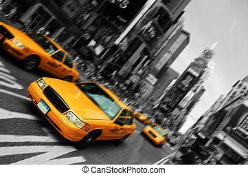 Taxi de Nueva York, movimiento de enfoque borroso, tiempos cuadrados