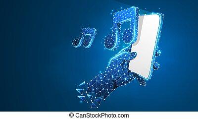 Teléfono en una mano tocando música. Tecnología poligonal de dispositivo, nota, sonido, concepto de jugador de smartphone. Abstracto, digital, cable-frama bajo vector azul neón 3d ilustración. Punto de línea del triángulo