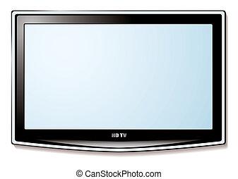 televisión, lcd, pantalla blanca
