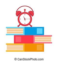 texto, alarma, aprendizaje, libros, reloj, pila