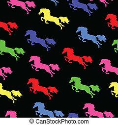Textura sin costura con caballos de color
