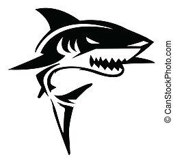 tiburón, vector, ilustración