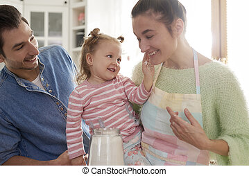 tiempo, feliz, gasto, familia , cocina, juntos