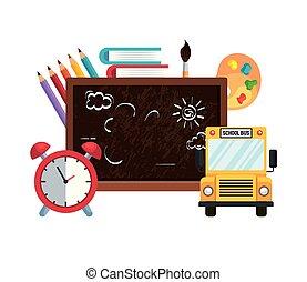 Tiza de la escuela con despertador y autobús