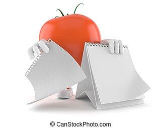 tomate, blanco, carácter, calendario