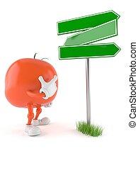 tomate, blanco, carácter, poste indicador