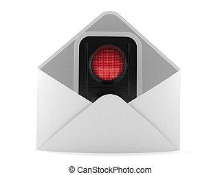 tráfico, rojo, dentro, sobre, luz