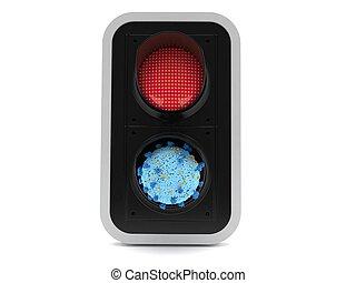 tráfico, virus, dentro, luz roja