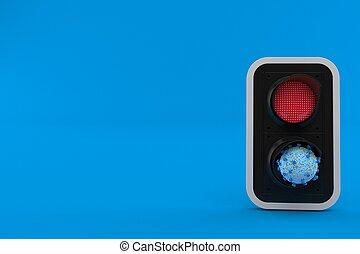 tráfico, virus, luz roja, dentro