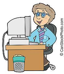 trabajador, caricatura, oficina