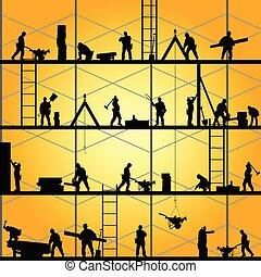 Trabajador de construcción, silueta en la ilustración del vector
