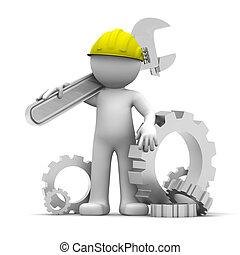 trabajador industrial, llave inglesa, 3d