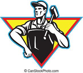 trabajador, martillo, retro