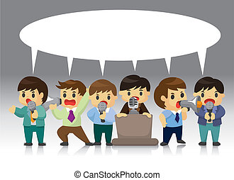trabajador, orador, oficina, tarjeta