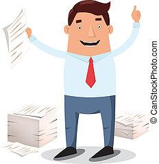 trabajador, pilas, oficina, papeles